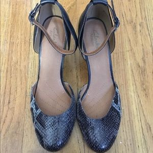 Clarks snakeskin and leather wedge high heels